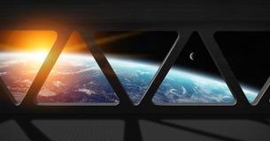 行星地球看法从空间站里边的 库存照片