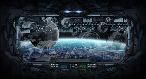 行星地球看法从空间站里边的 库存图片