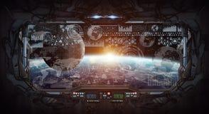 行星地球看法从空间站里边的 图库摄影