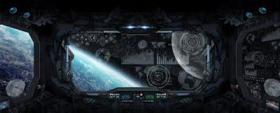 行星地球看法从空间站里边的 免版税库存照片