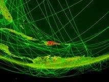 行星地球绿色模型的多米尼加共和国与代表数字时代、旅行和通信的网络的 3d例证 向量例证