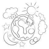 行星地球被隔绝的天气概略 库存图片