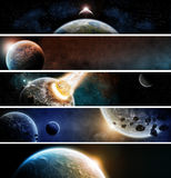 行星地球默示录横幅 库存图片