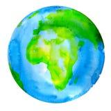 行星地球水彩绘画 免版税库存图片