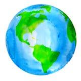 行星地球水彩绘画 库存图片