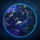 行星地球从空间的夜视图 向量例证