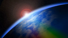 行星地球-红色日出,地球看法从空间的 元素o 免版税库存照片