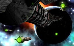 行星太空飞船 库存图片