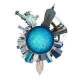 行星曼哈顿,纽约。 美国. 库存图片