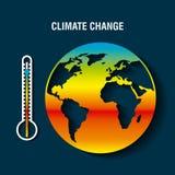 行星有温度计温暖的概念的地球病残 向量例证