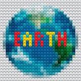 行星由马赛克做的地球分级显示 库存图片