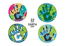 行星的四种类型与handprints的 库存图片