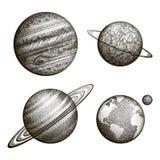 行星的汇集在太阳系的 板刻样式 葡萄酒典雅的科学集合 神圣的几何,魔术,神秘 库存照片