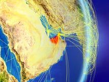 行星行星地球上的阿拉伯联合酋长国与网络 连通性、旅行和通信的概念 3d例证 库存例证