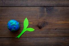 行星,生态 行星地球在黑暗的木背景顶视图的地球和植物coutout的plastiline标志复制空间 库存图片