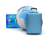 行李、信用卡和地球地球 库存图片