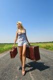 行李她的womanl 免版税库存照片