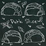 行猪肉牛排切片和草本 在黑黑板背景的传染媒介例证 现实手拉 免版税图库摄影