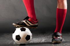 行程球员足球 免版税库存照片