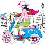 滑行车时尚女孩 库存图片