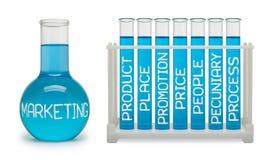 行销的概念。深蓝烧瓶。 库存图片