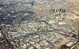 街市卡尔加里亚伯大冬天鸟瞰图 库存照片