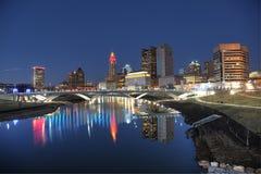 街市哥伦布,黄昏的俄亥俄 库存图片