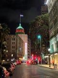 街市圣安东尼奥得克萨斯在晚上 库存照片