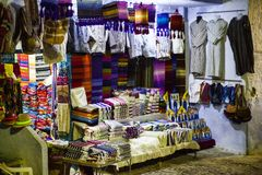 街市在舍夫沙万,摩洛哥,2017年 库存图片