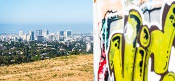 街市奥克兰看法有graffitti的在前景 库存图片