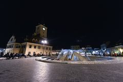 街市布拉索夫在晚上 免版税图库摄影