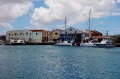 街市布里季敦,首都和大城市看法在巴巴多斯 免版税库存照片