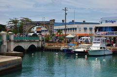街市布里季敦,首都和大城市看法在巴巴多斯 库存照片