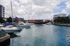 街市布里季敦,首都和大城市看法在巴巴多斯 库存图片