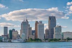 街市底特律地平线从温莎的,安大略 库存照片