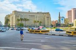 街市开罗的中心广场,埃及 免版税库存照片