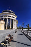 从街市斯科普里,马其顿首都的看法 库存图片