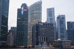 街市新加坡日落的视图  免版税库存照片