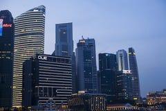 街市新加坡日落的视图  免版税库存图片