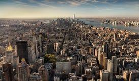 街市曼哈顿看法从塔的顶端 免版税库存图片