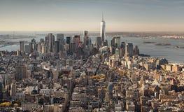 街市曼哈顿看法从塔的顶端 免版税图库摄影