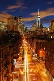 街市曼哈顿,纽约,在晚上 免版税库存图片