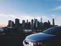 街市曼哈顿,纽约,从汽车的看法 免版税库存照片