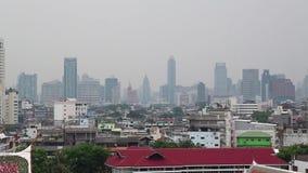 街市曼谷的全景  从金黄山, Wat Saket的看法 影视素材