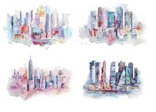 高大厦色的水彩画剪影在纽约,美国 都市风景大现代城市.图片
