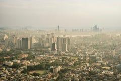 街市汉城风景看法在日落期间的 库存图片