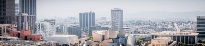 街市洛杉矶摩天大楼  城市的商业中心的鸟瞰图 免版税库存照片