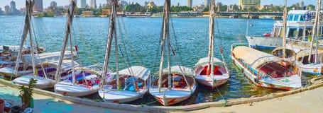 街市游艇俱乐部,开罗,埃及全景  免版税库存图片
