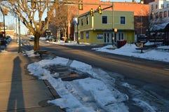 街市熔化的雪  库存照片