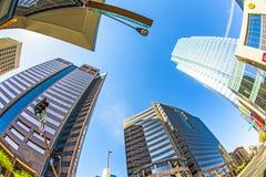街市的摩天大楼透视  免版税库存照片